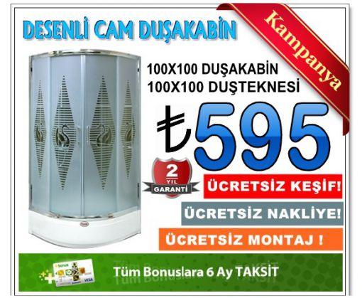 Desenli Cam Duşakabin